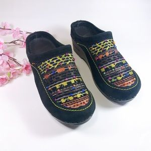 Dansko Suede Embroidered Open Back Clogs Size 37
